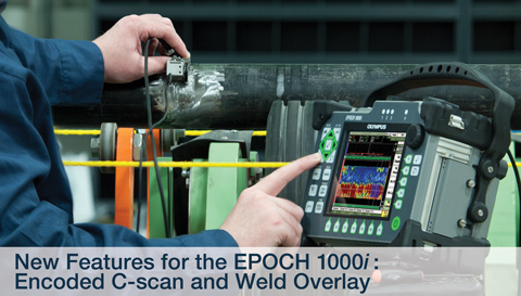 EPOCH 1000 series flaw detector with encoded c-scan and wel overlay testing pipe