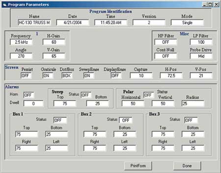 EddyMaster Software Data Storage Screen
