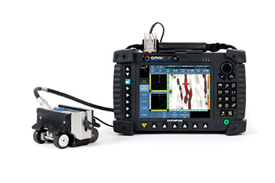 The MagnaFORM solution includes the probe, scanner buggy, and 5-meter cable. The lift-off compensation software is loaded on a flash card and is used with the OmniScan MXE flaw detector.