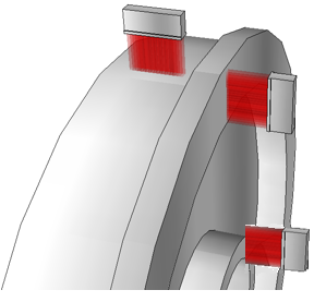 Inspect the wheel's hub using a third linear phased array probe.