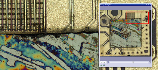 Peeled integrated circuit > Olympus Stream materials science software > Olympus Stream, image analysis software