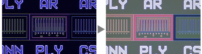 IC pattern on a semiconductor wafer (Left: Darkfield / Right: MIX (Brightfield + Darkfield))
