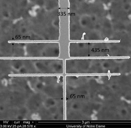 Figure 6. a) Scanning electron micrograph of ACNTC. b) LEXT OLS5000 optical micrograph of same device. Excellent image quality and resolution enable a quick inspection of device integrity after fabrication. The center-to-center distance between the horizontal lines is 500 nm and their width is about 65 nm.