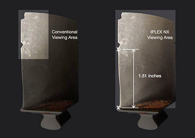 Figure 4—The four times larger viewing area of the IPLEX NX videoscope facilitates both imaging and the measurement of defects.