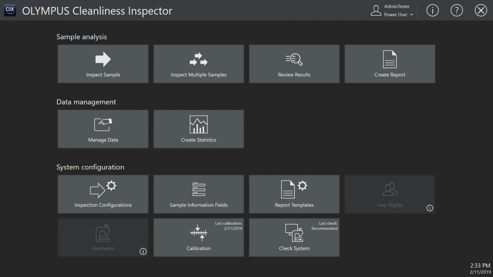 Cleanliness inspection system user interface